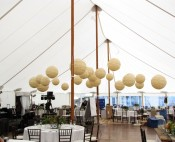 Tidewater ( sailcloth style) tent with lanterns